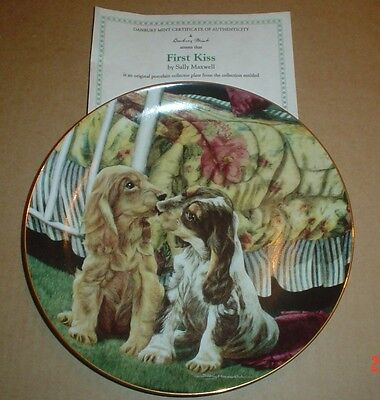 Lovely Danbury Mint Collectors Plate FIRST KISS Cocker Spaniel