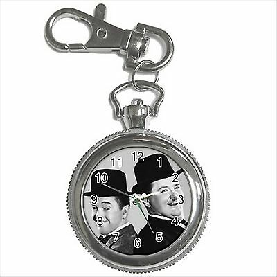 NEW* HOT LAUREL AND HARDY Silver Color Tone Key Chain Ring Watch Gift