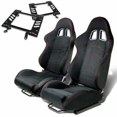 Type-1 Racing Seat Black Suede+Silder/rail+For 79-98 Ford Mustang Bracket X2