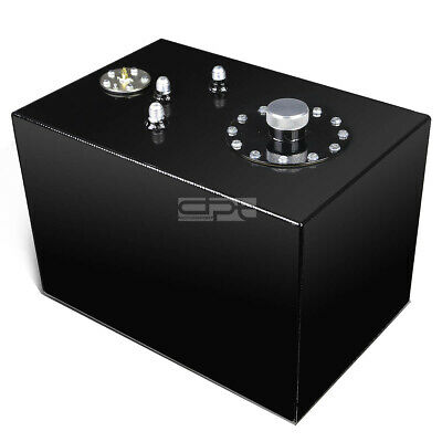 12 Gallon Top-Feed Black Coated Aluminum Racing Fuel Cell Tank+Cap+Level Sender