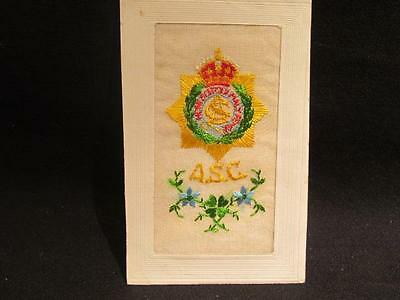 British Army Service Corps ASC WWI Era Hand Embroidered Silk Postcard