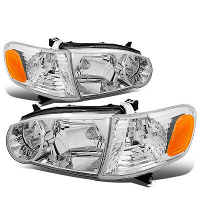 Fit 2001-2002 Toyota Corolla Pair Chrome Housing Amber Corner Headlight/Lamp Set