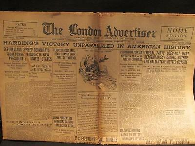 London Ontario Advertiser Newspaper Nov 3, 1920 Complete inc US Election Results