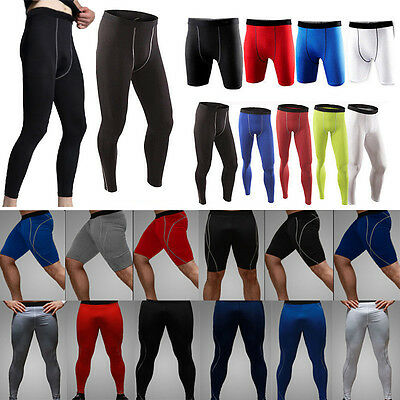 New Mens Bodybuilding Compression Gym Base Layer Pants Under Tight Long Leggings
