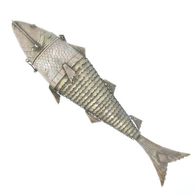 Antique Judica Besamim Spices Silver Articulated Fish Large  Opens