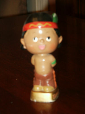 Vintage Happy Kids Bobble Head Toy Indian Boy Native American