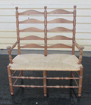 55189   Rustic Rush Seat Ladderback Loveseat  Sofa Couch Settee Chair