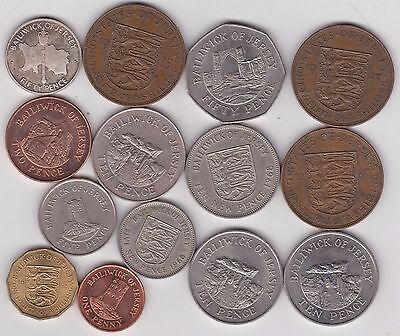 14 Jersey Base Metal Coins Dated 1933 To 2002