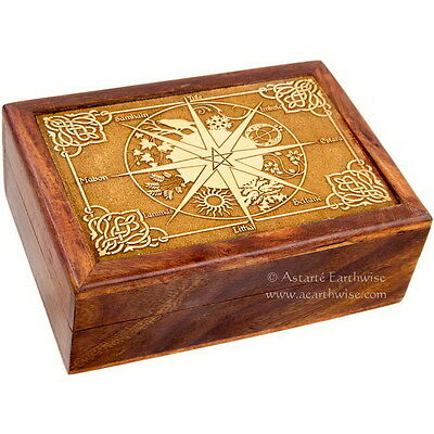 CALENDAR WOODEN BOX - LASER ETCHED - TAROT BOX Wicca Witch Pagan Goth LINED
