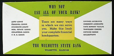1940s Ink Blotter Wilmette State Bank Services, Wilmette Illinois