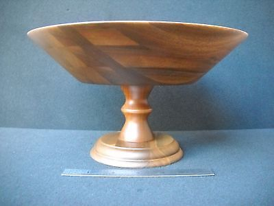 Quality Heirloom Numbered Solid Wooden Ware Pedestal Bowl Circa 1960s Free Ship!