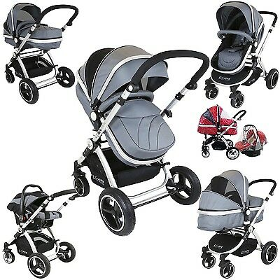 i-Safe System - Grey Trio Travel System Pram & Luxury Stroller 3 in 1 Complete W