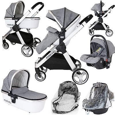 Marvel 3in1 Pram - Dove Grey Pram Travel System (+ Luxury Carrycot + Car Seat+ x