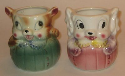 Cute DOG & MOUSE Wearing DRESSES Vintage JAPAN Pottery CUPS Holders VASES