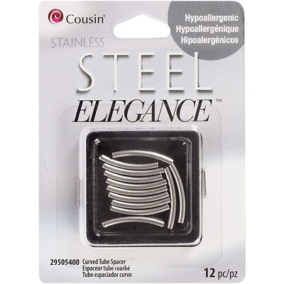 Curved Tube Spacers 12/Pkg - Stainless Steel Elegance Beads & Findings