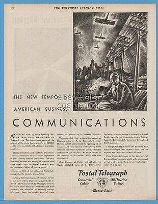 1929 Postal Telegraph Commercial Cables Mackay Radio Telegram Communications Ad