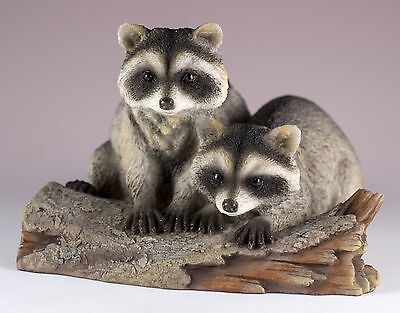 "Pair of Raccoons On Log Figurine 5.75"" Long Polystone New In Box"