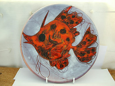 Signed Retro Vallauris Faience Pottery Ulrike Lindhof Fish Plate  (a)