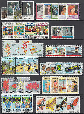Jamaica Sc 612//728 MLH. 1985-1991 issues, 12 complete sets, F-VF