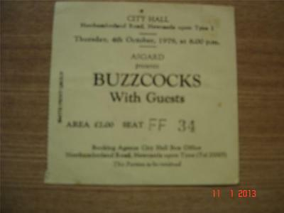 Joy Division Buzzcocks  ticket Newcastle City Hall 04/10/79 Yellow ticket