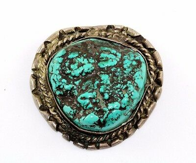 Native American Spiderweb Turquoise Large Stone Pendant 925 Sterling Pd 1245