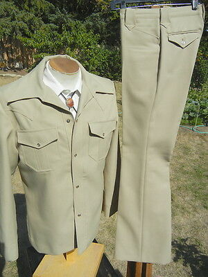 Bright Western Pearly Snap Leisure Suit 40L 31x33 - Flared Legs - Vintage 1970s
