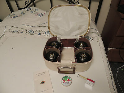 Vintage HENSELITE Lawn Bowling Ball or Bocce SET in Case w measure HEAVYWEIGHT 0