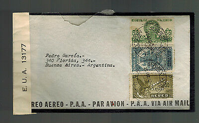 1942 Mexico DF to Buenos Aires Argentina Censored Airmail Mourning cover