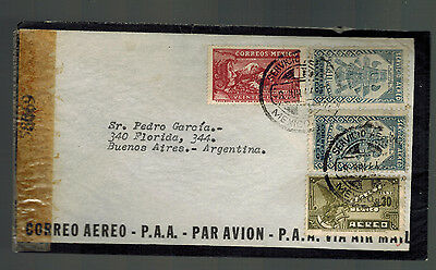 1944 Mexico DF to Buenos Aires Argentina Censored Airmail Mourning cover