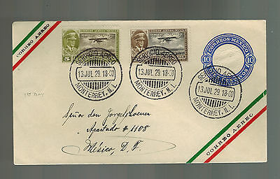 1929  Monterrey NL Mexico cover to MExico City Early Airmail Uprated PS