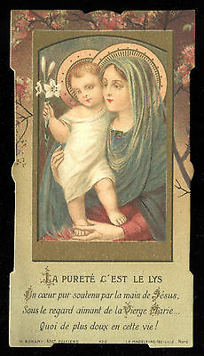 Antique  Holy Card Of St Mary And Jesus Dated 1913