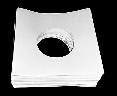 """Pack of 100 45rpm 7"""" Record Inner Sleeves/Covers w/ Hole HeavyWeight White Paper"""