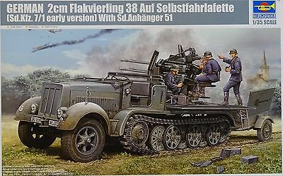 TRUMPETER® 01523 2cm Flakvierling 38 auf Sd.Kfz.7/1 Early w/Sd.Anh.51 in 1:35