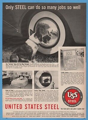 1954 US Steel Car Hubcap Southern California Wind Tunnel Boston Terrier Photo Ad