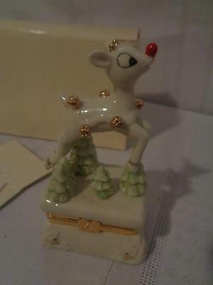 """LENOX """"RUDOLPH THE RED NOSED REINDEER""""  TREASURE BOX WITH CHARM- New"""