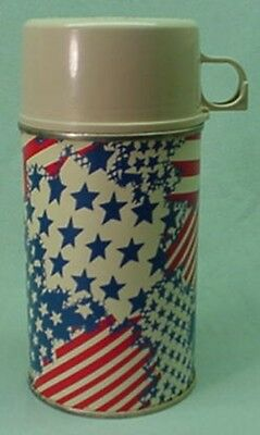 Vintage 1972 metal Stars and Stripes thermos for Brunch bag lunch box