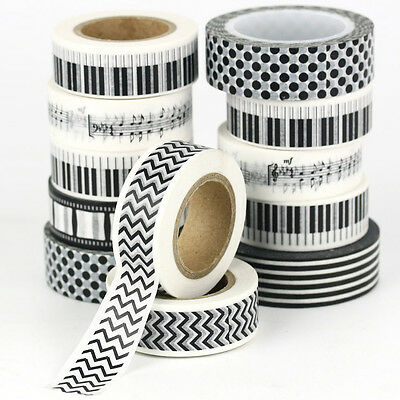 10m Black white Paper Washi Tape Masking Adhesive Decorative Scrapbooking DIY