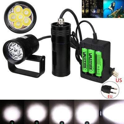 Waterproof 150m 10000Lm 6x XM-L2 LED Scuba Diving Flashlight Torch 3x 18650 Lamp