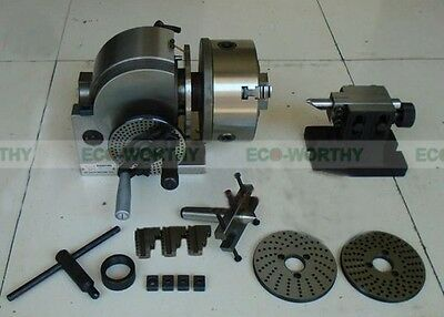 "BS-0 Precision Dividing Head + 5"" 3-jaw Chuck & Tailstock Plates Milling Set New"