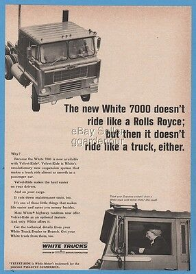 1966 Think Grandma Can't Drive a White 7000 Cabover Semi Truck Photo Ad