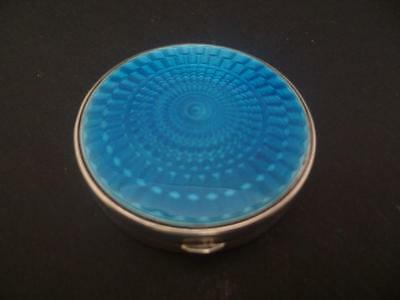 George Vi Silver & Guilloche Electric  Blue Enamel Compact Hallmarked Dated 1938