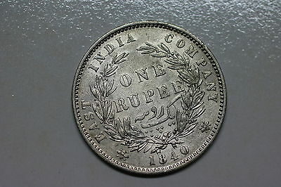 India 1 Rupee 1840 Silver Victoria Nice Details A56 #k5364