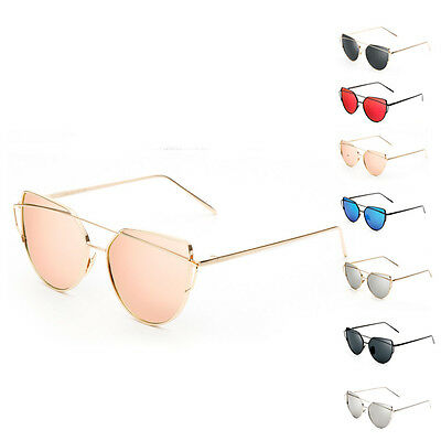 Vintage Fashion Mirrored Oversized Sunglasses Women's Glasses Metal Flat Lens