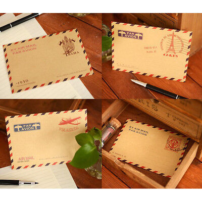 Set of 40 Envelope Vintage Airmail Kraft Envelopes 4 different Styles-Random