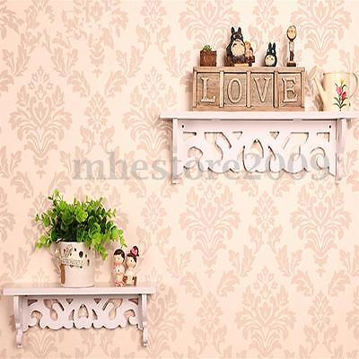 Set of 2 White Shabby Chic Filigree Style Shelves Cut Out Design Wall Shelf New