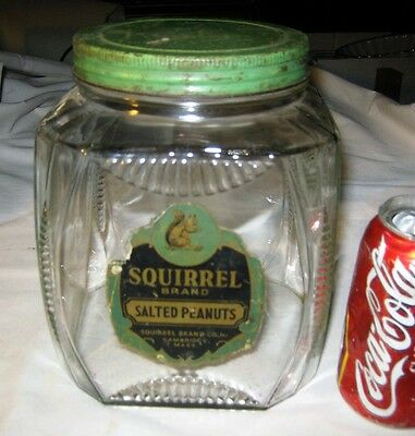 Antique Usa Art Deco Kitchen Hoosier Squirrel Sign Label Peanuts Glass Jar Tin