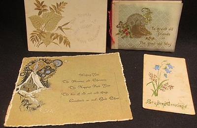 Christmas 4 Victorian Greeting Cards 1 With Pins on Satin & 1 with clippings