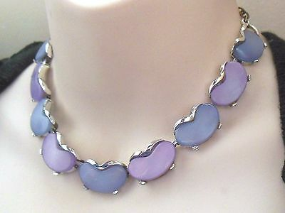 Vintage 1950's silver tone purple blue moonglow lucite thermoset link necklace