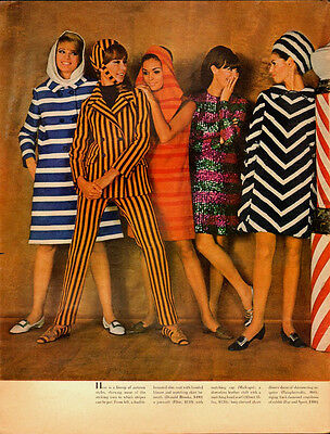 1967 Vintage Clothing magazine pages (2)  60's Fashion/Stripes/Models (041813)