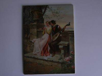 Antique Kpm Berlin Porcelain Plaque Signed By Knoullez - Lovers With Mandolin.